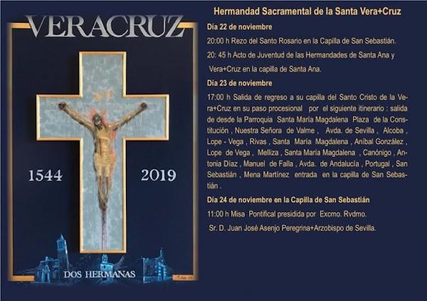 Horario e Itinerario de la Salida Extraordinaria del Cristo de la Vera Cruz de Dos Hermanas. 23 de Noviembre del 2019
