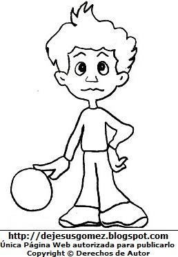 Dibujo de un niño triste y solo con la pelota para colorear, pintar e imprimir. Dibujo de un niño trsite de Jesus Gómez