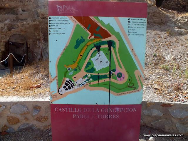 Mapa del Castillo de la Concepción en Cartagena