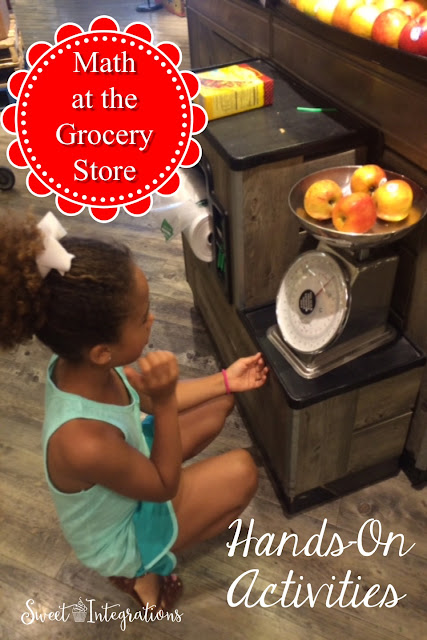 Grocery Store Math - Hands-On Activities, Get your children involved while shopping for groceries, use estimation, read labels and plan meals with a budget.