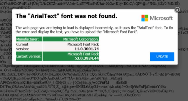 """The ArialText font was not found"" pop-ups"