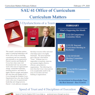 School District Publishes Curriculum Newsletters