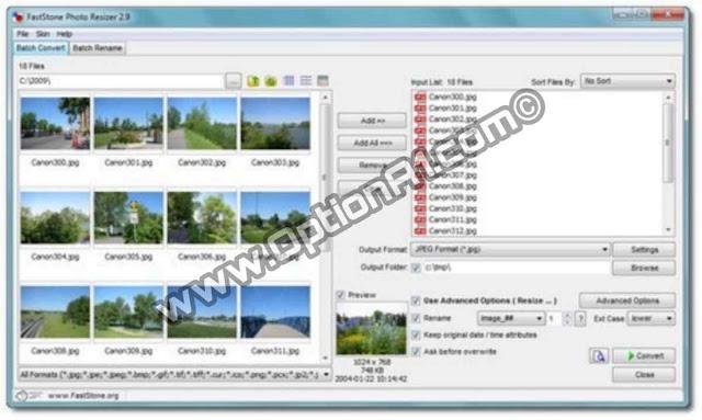FastStone Photo Resizer أفضل برنامج لتصغير الصور وتغيير صيغ الصور المختلفه