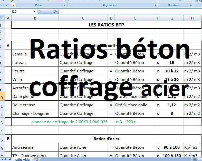 Ratios Béton Coffrage Et Acier En Excel Cours Génie Civil
