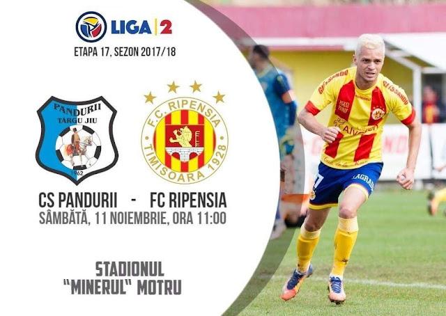 Liga 2, etapa 17.  Pandurii Targu Jiu - Ripensia Timișoara (ora 11.00)