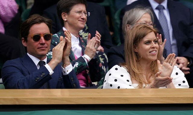 The Countess of Wessex wore a polka dot dress by ME+EM. Princess Beatrice wore a new puff-sleeve midi dress by Self Portrait