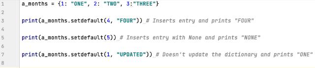 setdefault method in Python