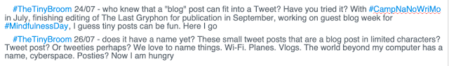 Text of Twitter posts, #TheTinyBroom tweets, tiny blog posts