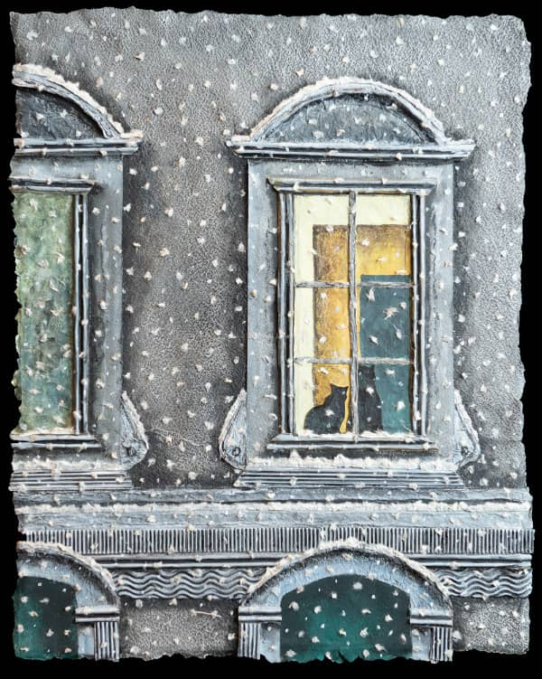 textured paper collage of two cats seated in window of ornate building during snowfall