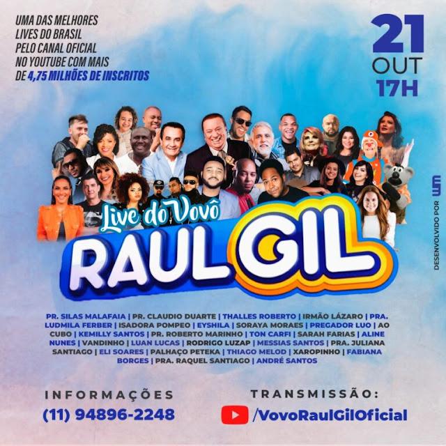 Raul Gil fará live no YouTube com 26 personalidades gospel