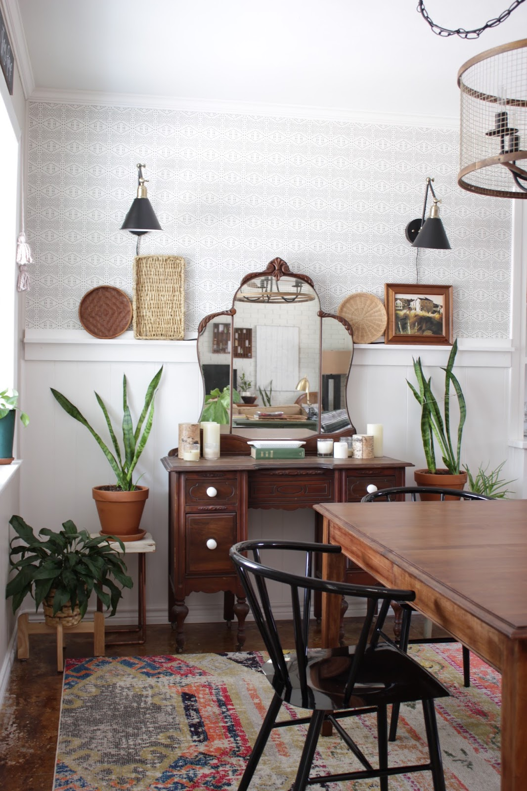 A dining room wall update with Spoonflower and Lamps Plus
