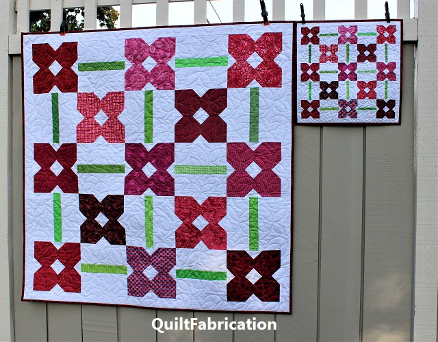 Petunia Patch 1 and Petunia Patch Mini quilts full on