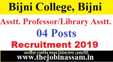 Bijni College Recruitment 2019