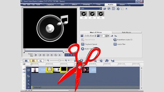 طريقة قص ازالة عزل الصوت من مقطع فيديو على اليوليد فيديوUlead VideoStudio 11