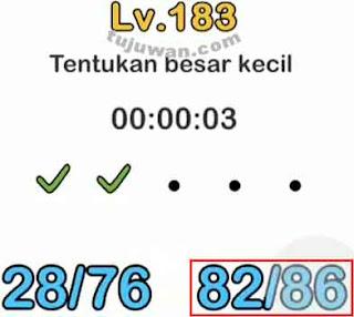 Brain out : Menentukan besar kecil jawaban di level 183