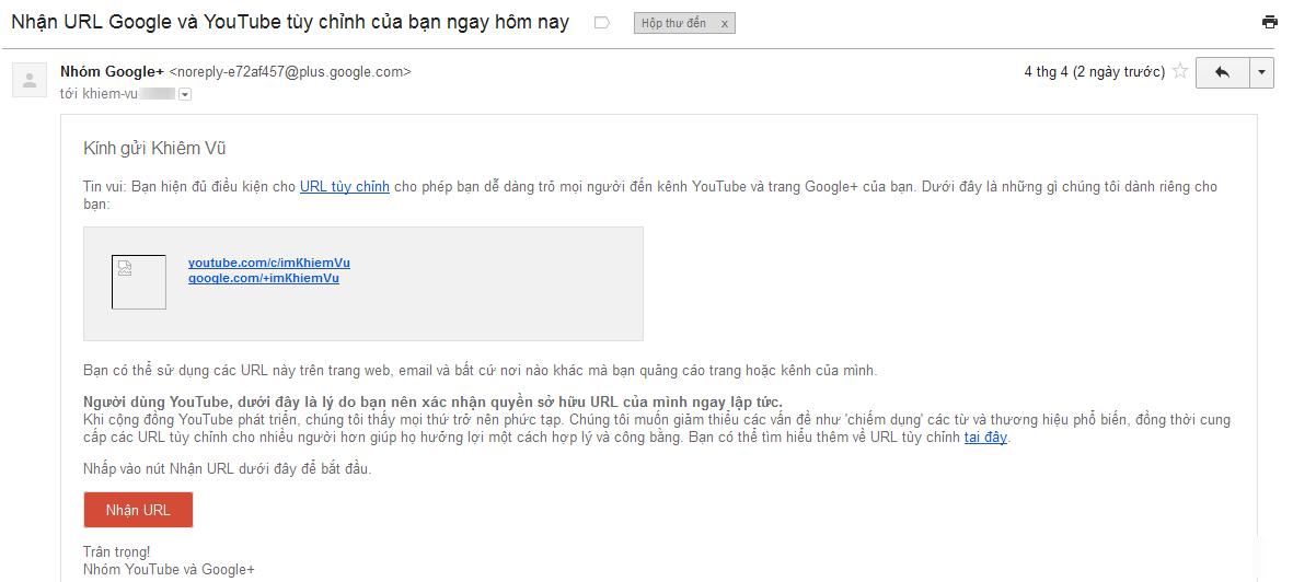 Email nhận url kênh youtube
