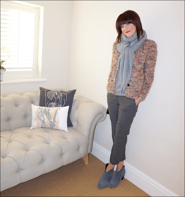 My Midlife Fashion, zara cashmere scarf, iro helga jacket, the white company ultimate oxford trouser, hush thornton ankle boots, marks and spencer pure cashmere crew neck jumper