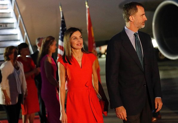 King Felipe and Queen Letizia are making a visit to United States of America between the dates of June 14-19. Letizia wore red dress