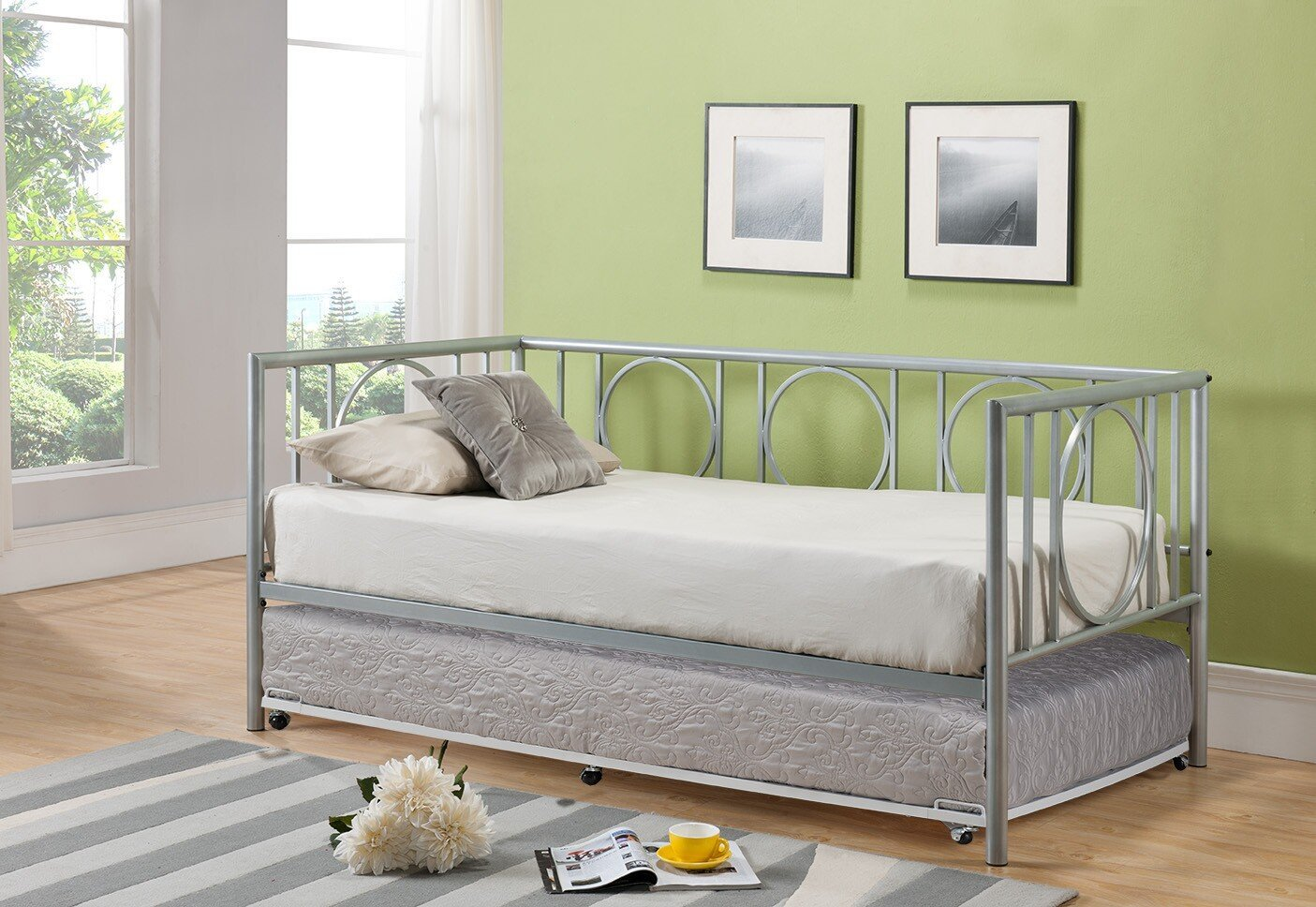 Twin bed with pull out slide out trundle bed underneath - Small beds for adults ...