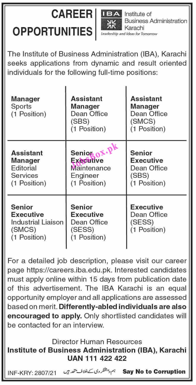 careers.iba.edu.pk Jobs 2021 - Institute of Business Administration IBA Jobs 2021 in Pakistan