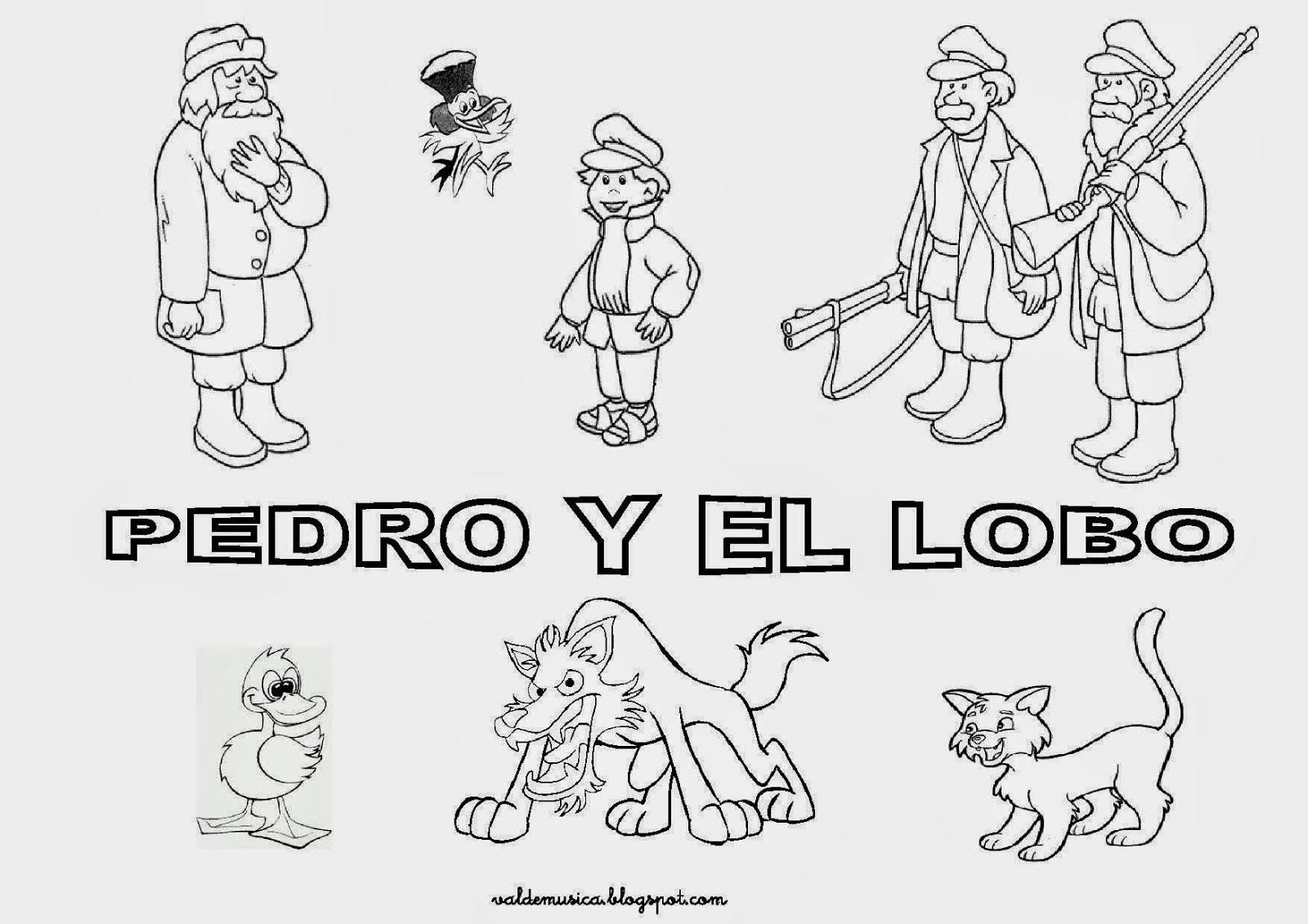 Cuentos Infantiles Cortos Para Colorear E Imprimir Imagui: Dibujos Del Cuento De Pedro Y El Lobo Para Colorear
