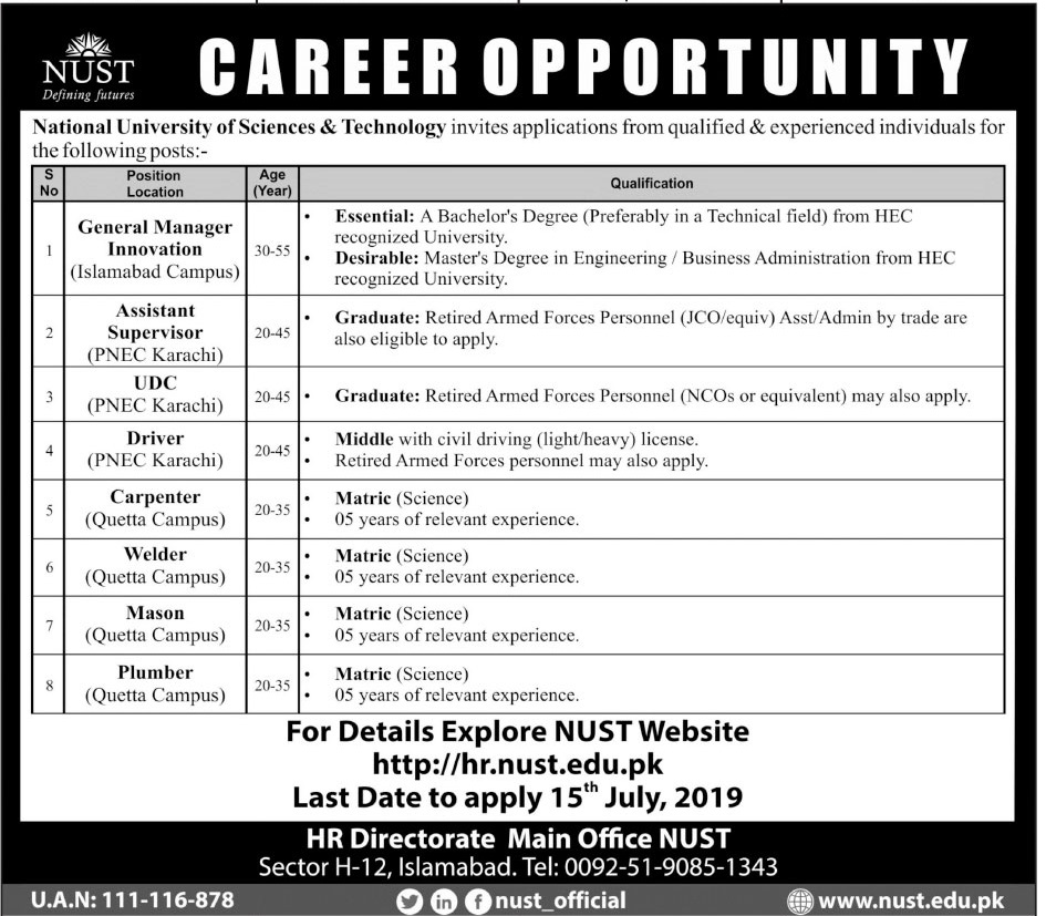 National University Of Science And Technology Jobs 2019