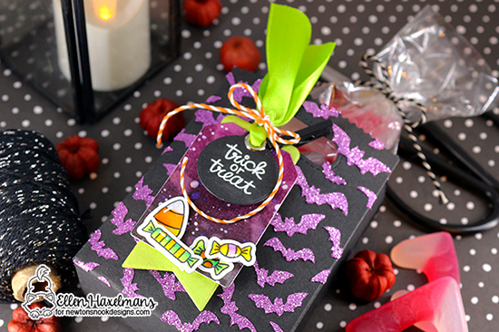 Happy Halloween Treat Bag by Ellen Haxelmans |  Flying Bats Stencil, Candy Corn Stamp Set and Hoppy Halloween Stamp Set and by Newton's Nook Designs #newtonsnook