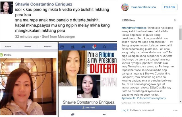 Melai Cantiveros delivered a strong message to a supporter of Duterte who wishe her daughter to be 'violated'