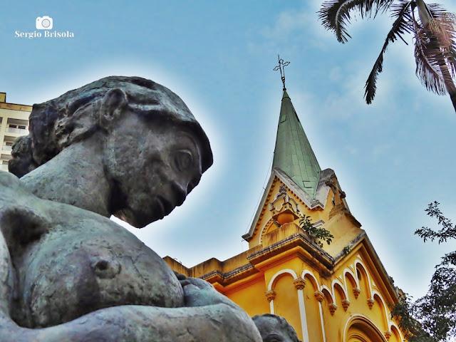 Fotocomposição Escultura Mãe Preta e Igreja do Rosário - República - São Paulo