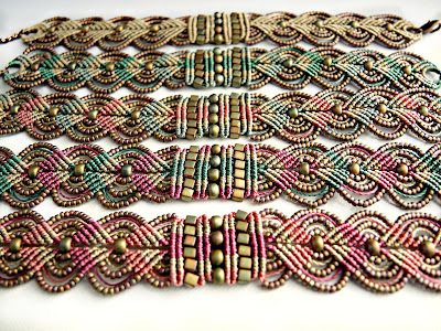 Handmade macrame jewelry.