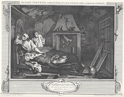 William Hogarth's Industry and Idleness, Plate 7, The Idle 'Prentice return'd from Sea, & in a Garret with common Prostitute