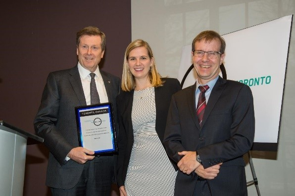 City of Toronto Mayor John Tory, 100 Resilient Cities CCO, Elizabeth Mercer and Toronto City Manager Peter Wallace at the ResilientTO Agenda Setting workshop in December 2016.