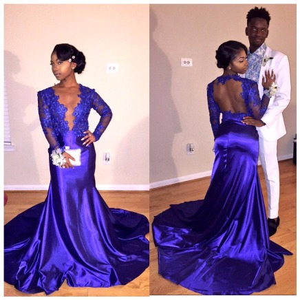 Long-sleeve Sexy V-neck Sheer-Back Popular Appliques 2017 Prom Dresses –Price:US$159