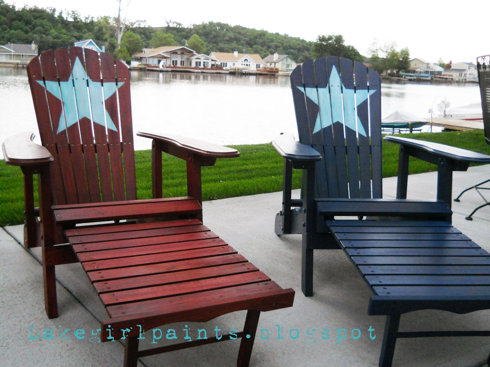 aqua adirondack chairs buy easy chair online lake girl paints: summer beach