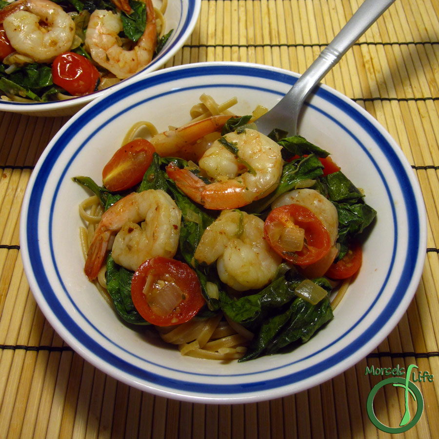 Dinner Morsels of Life - Garlic Shrimp Pasta with Tomatoes and Greens - Tomatoes and greens flavored up with garlic and onion, then cooked with shrimp for a quick, easy, and tasty garlic shrimp pasta.