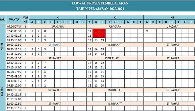 Download Aplikasi Jadwal Pelajaran Otomatis SMA MA