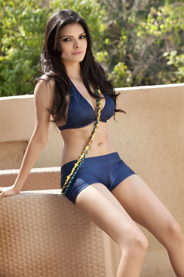Sherlyn Chopra poses for photoshoot in a blue bikini top