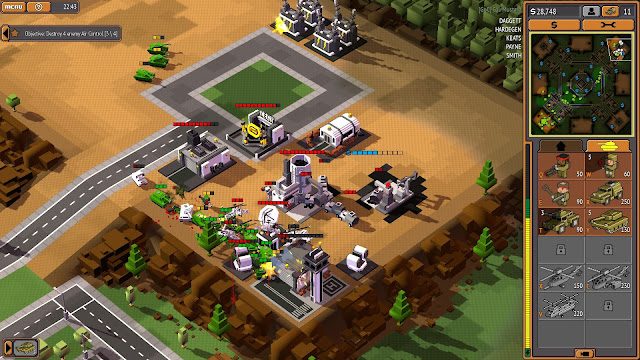 Screenshot of a base being destroyed in 8-Bit Armies