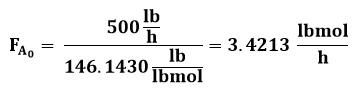 Flujo molar en la entrada al reactor de flujo pistón o PFR