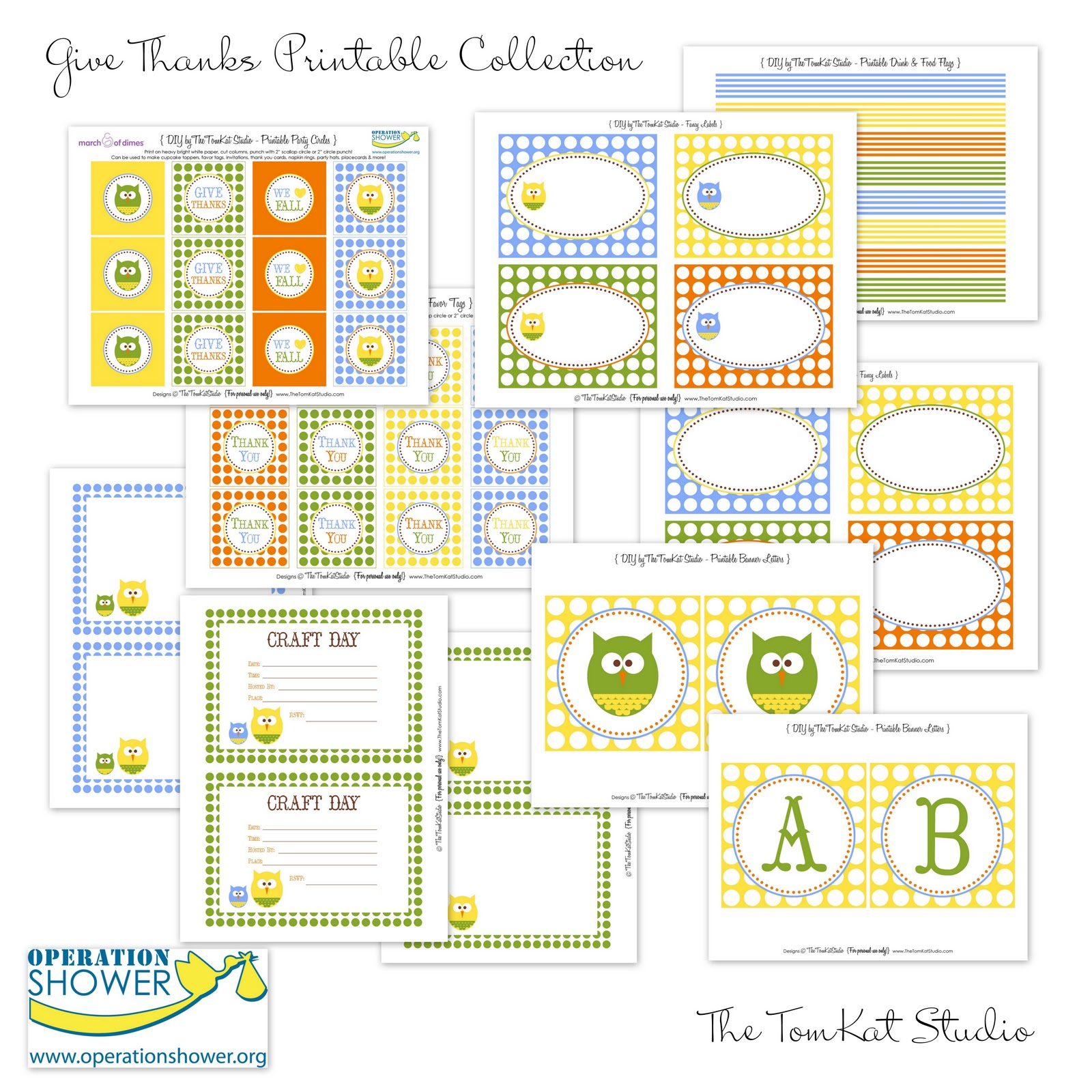 The Tomkat Studio Free Printables Give Thanks Fall Collection For Operation Shower