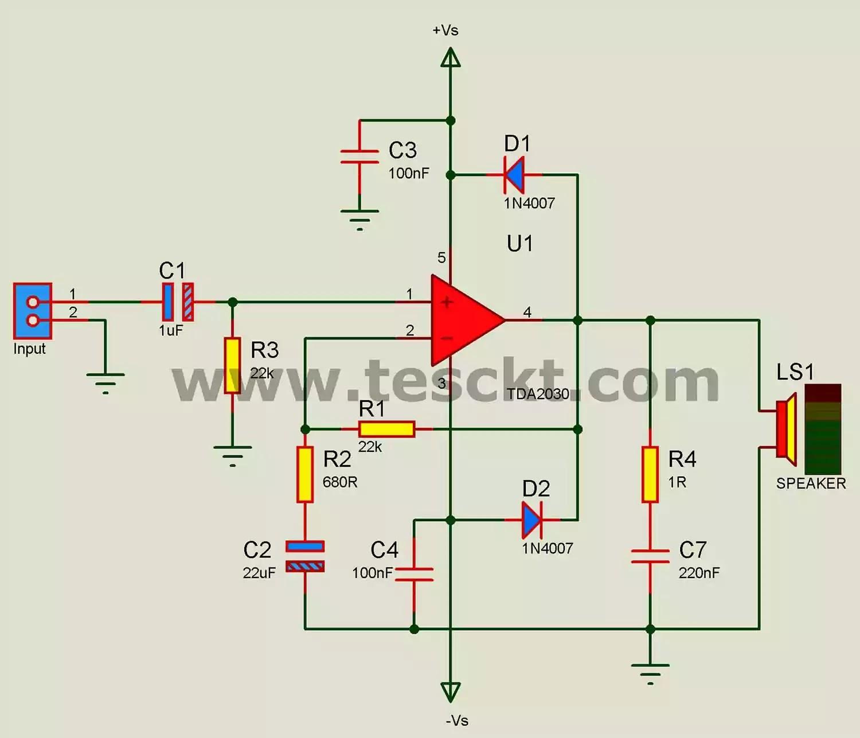 TDA2030 amplifier circuit 12v