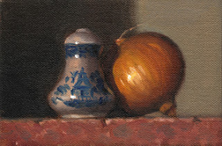 Still life oil painting of a small porcelain salt shaker beside a brown onion.