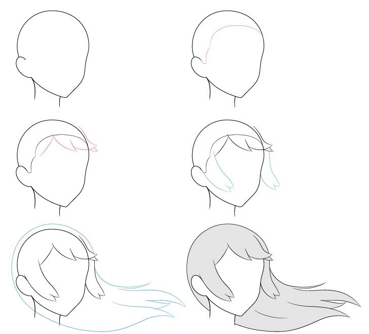 Anime rambut panjang bertiup angin 3/4 tampilan menggambar langkah demi langkah