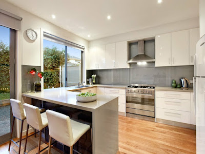 stunning u kitchen idea with garden view