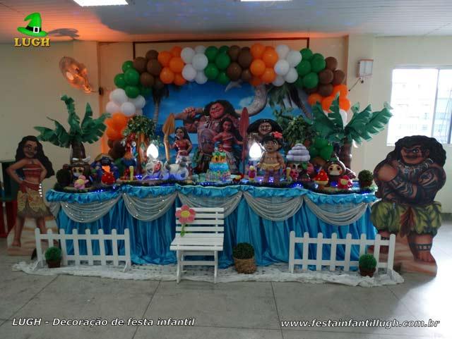 Moana - Decoração da mesa do bolo para festa de aniversário infantil - Barra - RJ