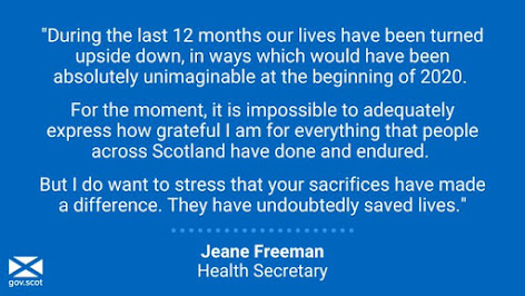 Jeane Freeman Scottish Health Secretary says we are all doing a grand job.