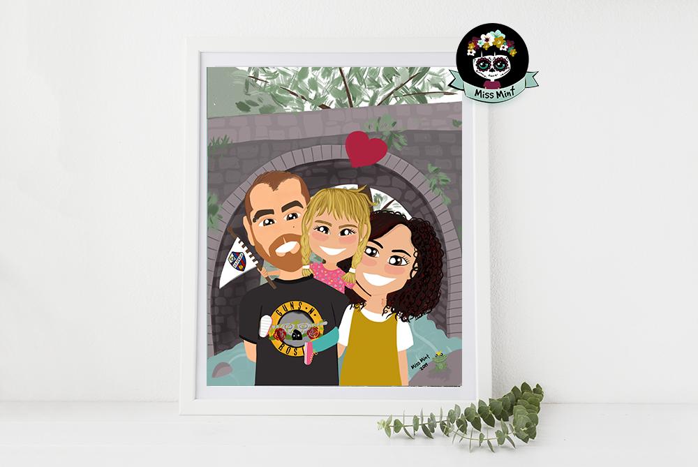 Ilustraciones personalizadas miss mint, regalos de familia muy especiales