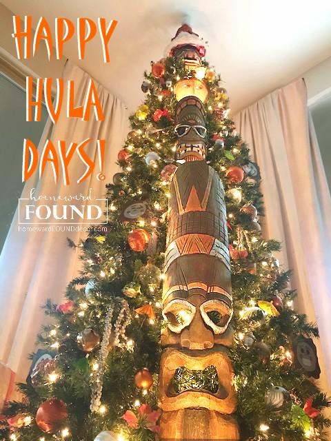 tiki bar, tikis, tiki culture, tiki hut, tropical decor, happy HULAdays, home decor, diy decor, holiday home decor, holiday