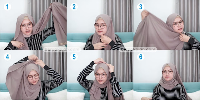 Style Pertama Tutorial Hijab Pashmina untuk Wanita Berkacamata Simple TERBARU 2019