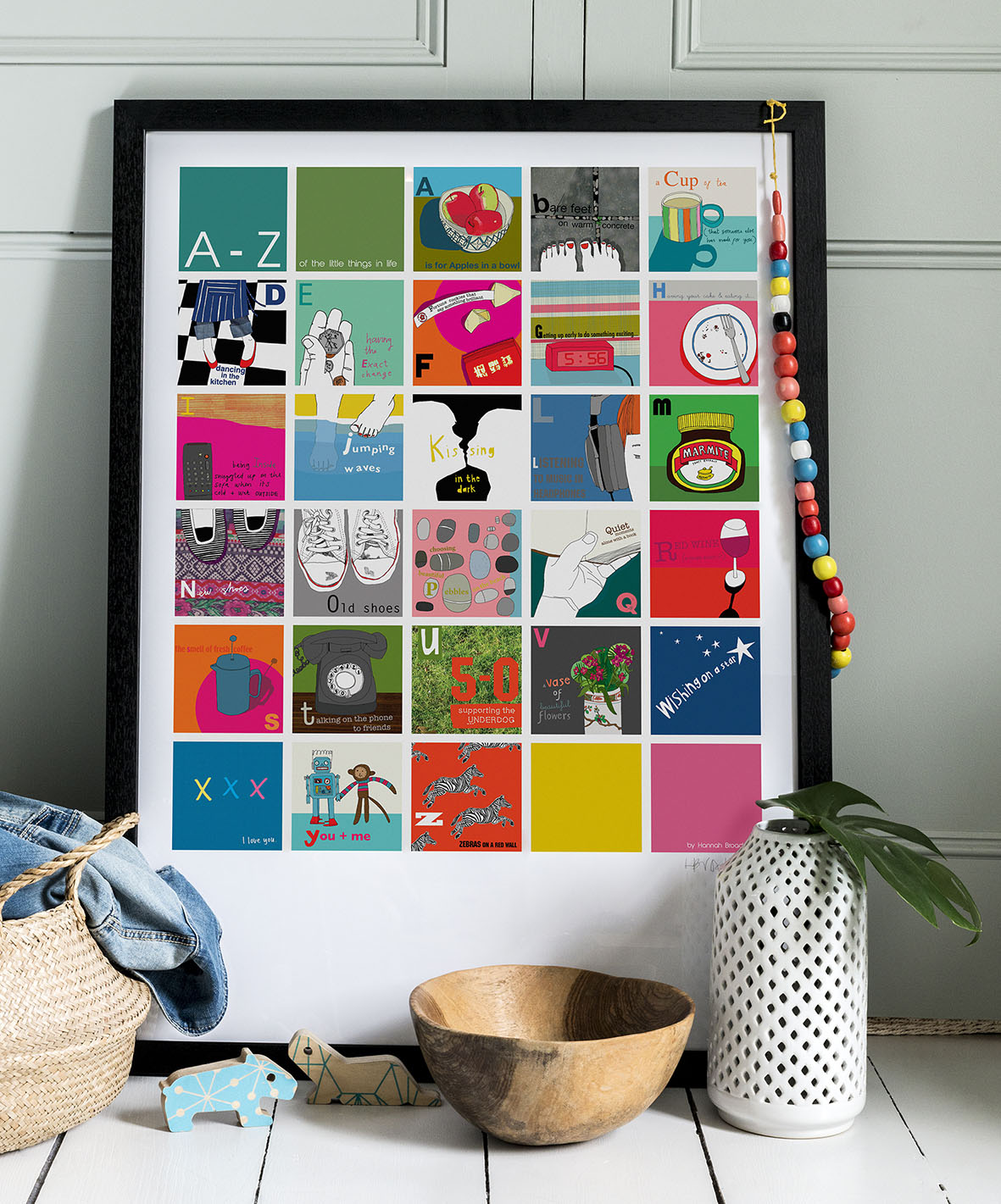 Brightening up any home with a good dose of celebration of the A-Z of the Little Things in Life. A1 framed print by Hannah Broadway.